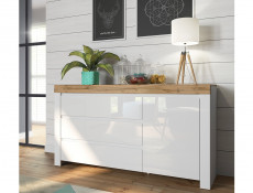 Scandinavian Large Sideboard Cabinet Unit 3-Drawer White Gloss/Oak - Holten