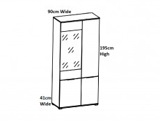 Modern White Gloss & Oak Wide Tall Glass Fronted Display Cabinet Storage 2 Door Unit with LED Light - Zele (S383-REG1W3D-DWO/BIP+LEDS)