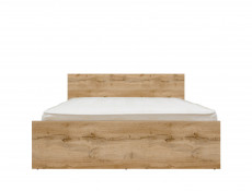 Modern Double Bed Frame in Oak finish with Headboard Slats - Zele