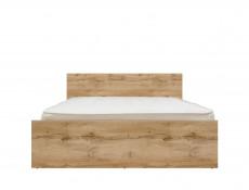 Modern Double Bed Frame in Oak finish with Headboard Slats - Zele (S383-LOZ/140-DWO-KPL01)