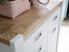 Country Farmhouse Cabinet 2 Drawers Sideboard Nursery Storage White/Oak - Dreviso Baby