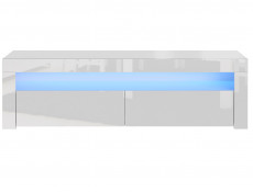 Modern White Gloss TV Cabinet Entertainment Stand Large Media Unit with Blue LED Light - Lily (HOF-LILY-RTV_BI-BIP-KP01+LED_BLUE-STRIP)