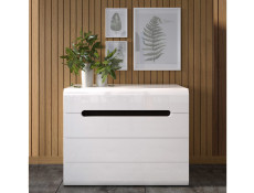 Modern White High Gloss Wide Chest of 4 Drawers Unit with Wenge Dark Wood Effect/White Gloss/Black Gloss Inserts - Azteca Trio (S504-KOM4S/8/11-BI/BIP-KPL01)