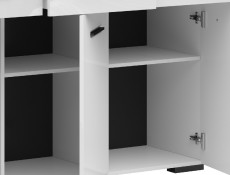 Modern White Gloss Wide Sideboard Cabinet Storage Unit Chest of Drawers Dresser 150cm - Assen (S513-KOM3D3S/9/15-BI/BIP-KPL01)
