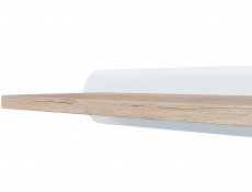 White Gloss & Oak finish Small Wall Shelf 100cm - Byron