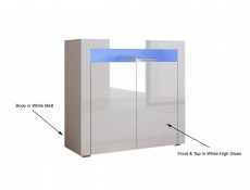 Small Sideboard White High Gloss Display Cabinet Blue LED Light - Lily