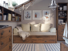 Modern Tall Wide Bookcase Shelf Cabinet with 4 Drawers and 3 Shelves in Dark Oak Effect Finish - Indiana (S31-JREG4so/50-DSU-KPL01)