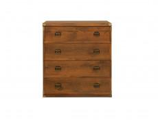 Modern Wide 80cm Chest of 4 Drawers Storage Unit Bedroom Furniture in Dark Oak Effect - Indiana (S31-JKOM4s/80-DSU-KPL01)