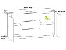 Modern Living Room Furniture Set White Gloss / Oak Effect Finish Sideboard & Glass Display Cabinet LEDs - Erla