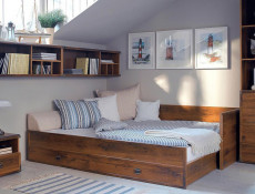 Modern Solid Sofa Bed Converts to King Size Bed in Sutter Dark Oak Effect Finish - Indiana (S31-JLOZ80/160-DSU-SET)