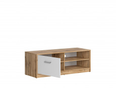 Modern Large TV Cabinet Entertainment Media Unit Stand White Matt/Oak finish - Matos (S414-RTV1D-DWO/BI)
