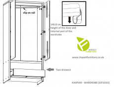 Two Door Wardrobe Light Wood Sonoma Oak with Drawers - Kaspian (S128-SZF2D2S-DSO/DSO-KPL03)