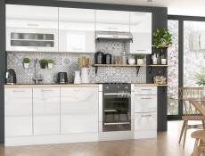 White High Gloss Kitchen Base Cabinet Cupboard 1 Door 60cm Free Standing Floor 600 Unit - Rosi (STO-ROSI-D60-P/L-BI-BIP-KP01)