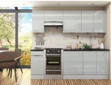 Light Dove Grey Gloss Kitchen Base Cabinet 40cm Cupboard 1 Drawer 1 Door 400 Unit - Luna