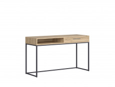 Industrial Narrow Console Hallway Table Sideboard with Drawer Metal Legs Light Oak Effect Finish - Gamla