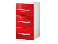 Narrow Bathroom Drawer Cabinet Red High Gloss / White without Worktop - Coral (Coral D30S/3 Red No Top)