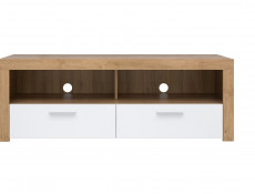 Modern Compact 135cm TV Cabinet Media Entertainment Stand Drawer Storage Unit Oak Effect White Gloss - Balder
