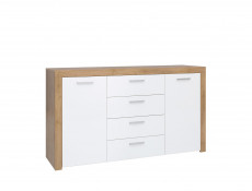 Modern Wide 2-Door Sideboard Dresser 4-Drawer Cabinet Storage Unit Oak/White Gloss - Balder (S382-KOM2D4S-DRI/BIP-KPL01)