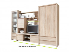 Modern Living Room Furniture Set Oak finish - Kaspian (M70-KASPIAN)