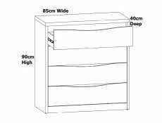 Modern Chest of Drawers 4 Drawer Cabinet 85cm Bedroom Storage Unit in White Gloss Oak Effect Finish - Pori