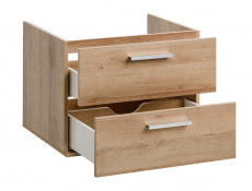 Modern Wall Bathroom Unit Vanity Cabinets Set 60cm Oak Riviera - Remik