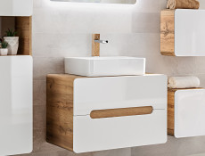 Modern White Gloss / Oak Wall Vanity Bathroom Cabinet 80cm Counter Top Drawer Unit with Sink Basin - Aruba (ARUBA_829-80_CM+CFP-6289_DP)