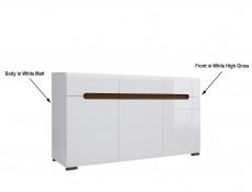 Large Sideboard Dresser Cabinet White High Gloss & White Matt - Azteca