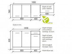Kitchen Set of 5 Cabinets Units Flat Pack in Sonoma Oak – Nela 1 (STO-NELA_SET-5UNITS_1.2/1.8-SON)