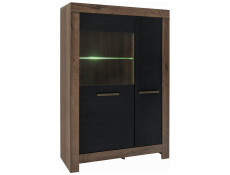 Wide Glass Display Cabinet with LED Light Black Oak - Balin