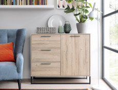 Industrial Large Sideboard Dresser Cabinet Unit with Drawers Metal Legs Light Oak Effect Finish - Gamla