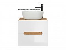 White Gloss / Oak Bathroom Furniture Set: Tall Laundry Basket Cabinet & 60cm Wall Vanity Sink Unit - Aruba (ARUBA_828-SET-SMILE-804 )