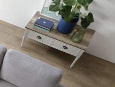 Rectangular Coffee Table with Drawers Turned Legs White / Oak Finish - Cannet