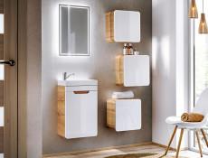 Modern White Gloss / Oak Small Wall Mounted Bathroom Square Cabinet Storage Unit- Aruba (ARUBA_831)