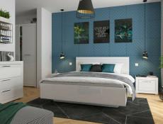 Double Wardrobe White Gloss Hanging Rail Bedroom Hallway Storage - Flames (S428-SZF2D-BIP-KPL01)