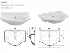Bathroom Furniture Set White High Gloss Wall Hung Vanity Units & Sink 550mm - Coral