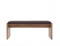 Dining Bench Oak finish with Brown Cushion 126cm - Gent (LAK/5/13)