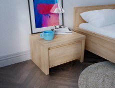 Modern Bedside Cabinet Table Sonoma Oak Light Wood - Kaspian (S128-KOM1S-DSO/DSO-KPL01)
