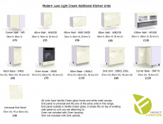 Light Cream Gloss 60cm Wall Unit extractor housing Kitchen Cabinets Cupboards - Modern Luxe (Lux W60 OKGR Cream)