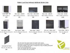 Grey Gloss 40cm Wall Unit Kitchen Cabinet Cupboard - Modern Luxe