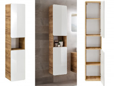 Modern White Gloss / Oak Tall Wall Mounted Bathroom Cabinet Storage Unit Tallboy - Aruba