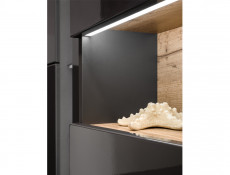 Modern Wall Bathroom LED Tall Cabinet Unit Set Grey Matt/ Grey Gloss - Bahama