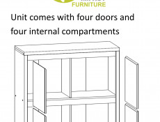 Modern Compact Sideboard White Matt Square Storage Cabinet - Kaspian (S128-KOM4D-BI/BI-KPL01)