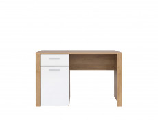 Modern Study Office 1-Door Desk Drawer 120 cm Storage Unit Oak/White Gloss - Balder