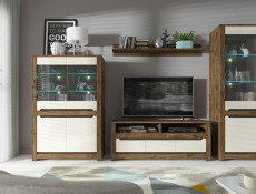 Small Sideboard 2 Door 2 Drawer Storage Cabinet  Gloss Cream and Dark Oak Finish - Ruso