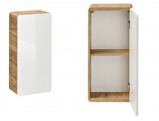 Modern White Gloss / Oak Small Wall Mounted Bathroom Cabinet Storage Unit - Aruba (ARUBA_830)