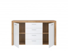 Modern Wide 2-Door Sideboard Dresser 4-Drawer Cabinet Storage Unit Oak/White Gloss - Balder