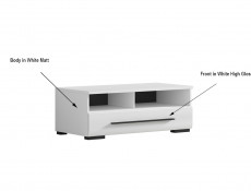 Modern 1-Drawer Living Room Media Bench TV Cabinet Storage Unit 100 cm White/White Gloss - Fever