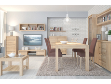 Modern Dining Room Furniture Set Extending Table Chairs Oak - Kaspian (KASPIAN DIN SET)