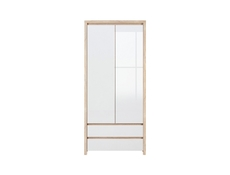 Two Door Wardrobe with Drawers White Gloss Sonoma Oak - Kaspian (S128-SZF2D2S-DSO/BI-KPL01)