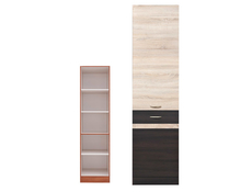 Modern Free Standing Tall Larder Kitchen Cabinet Cupboard Unit 50cm Right - Junona (K22-D2D/50/195_P-WE/DSO)